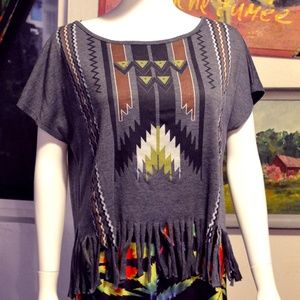 Aztec tribal geometric bat wing flowy fringe top